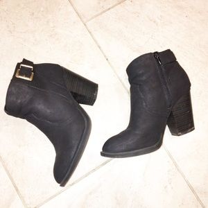 Soda Black Ankle Booties Buckle Accent
